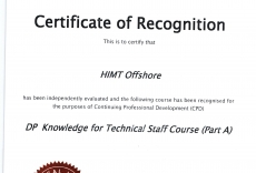NI Recogn. Certificate for DP Knowledge for Technical Staff Course